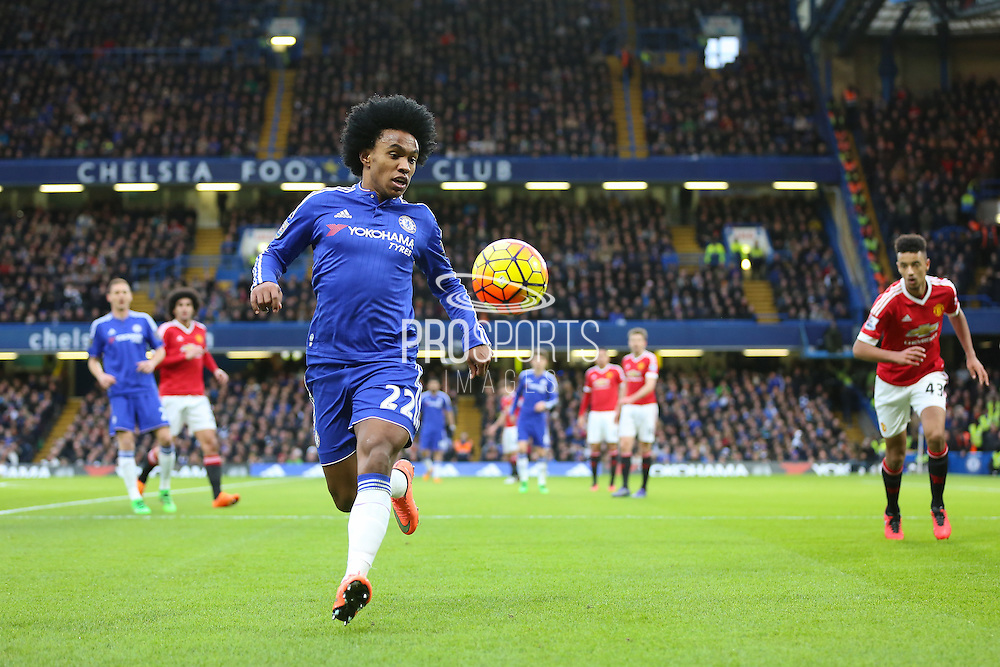 Chelsea's Willian on the ball during the Barclays Premier League match between Chelsea and Manchester United at Stamford Bridge, London, England on 7 February 2016. Photo by Phil Duncan.