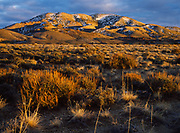 Snow-dusted peak north of the Nellis Bombing and Gunnery Range Complex, Central Nevada.