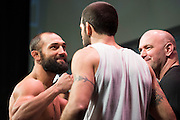 DALLAS, TX - MARCH 13:  Johny Hendricks faces off with Matt Brown during the UFC 185 weigh-ins at the Kay Bailey Hutchison Convention Center on March 13, 2015 in Dallas, Texas. (Photo by Cooper Neill/Zuffa LLC/Zuffa LLC via Getty Images) *** Local Caption *** Johny Hendricks; Matt Brown