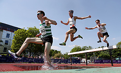 Phil Norman leads the field in the 3000m steeplechase during the Loughborough International Athletics Meeting at the Paula Radcliffe Stadium, Loughborough.