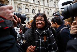 © Licensed to London News Pictures. 28/11/2015. London, UK. Shadow Secretary for International Development, Diane Abbott attending a protest against the bombing of Syria and Prime Minister's proposal to extend the UK air strikes against ISIS from Iraq into Syria, outside Downing Street in London on Saturday, 28 November 2015. Photo credit: Tolga Akmen/LNP