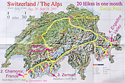 A geographic travel map of Switzerland shows a month itinerary starting from Zurich and doing 20 hikes in Berner Oberland, Chamonix (France), Zermatt, and Engadine Valley, Europe.