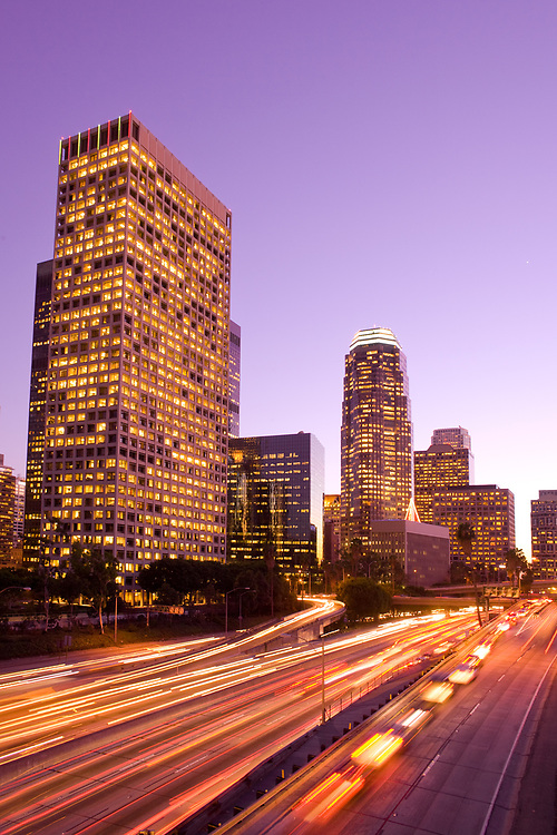 Skyscrapers at downtown financial district and Harbor Freeway, Los Angeles, California, United States