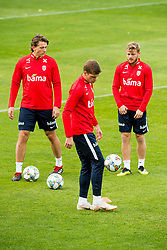 October 9, 2018 - LillestrØM, NORWAY - 181009 Sander Berge, Alexander Sørloth and Fredrik Midtsjø of Norway during a training session on October 9, 2018 in Lillestrøm..Photo: Jon Olav Nesvold / BILDBYRÃ…N / kod JE / 160321 (Credit Image: © Jon Olav Nesvold/Bildbyran via ZUMA Press)