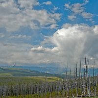 A summer thunderstorm brings rain squalls to the Blacktail Deer Plateau in Yellowstone National Park, Wyoming (viewed from Mount Washburn.)