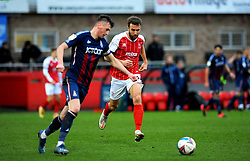 Andy Williams of Cheltenham Town chases down Paudie O'Connor of Bradford City- Mandatory by-line: Nizaam Jones/JMP - 20/02/2021 - FOOTBALL - Jonny-Rocks Stadium - Cheltenham, England - Cheltenham Town v Bradford City - Sky Bet League Two