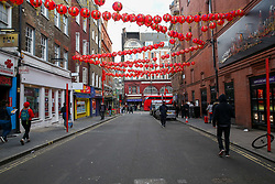 © Licensed to London News Pictures. 01/02/2020. London, UK. A less busy China Town in London at lunchtime following the outbreak of Coronavirus in Wuhan, China. <br /> According to the Department of Health, 203 people have been tested in the UK, with 201 results coming back negative and two positive. One of the two people to test positive for is a student at the University of York. Photo credit: Dinendra Haria/LNP