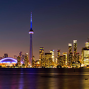 Toronto Skyline from Toronto Island at sunset.<br /> Toronto Ontario Canada. October 2016