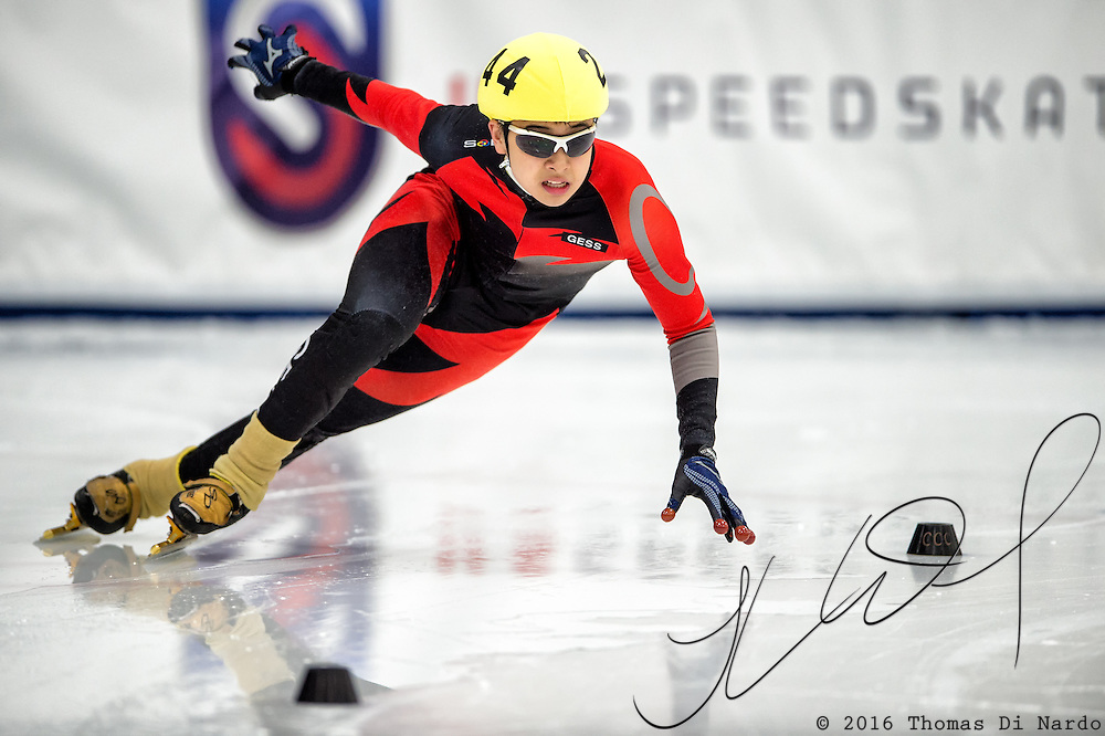 March 19, 2016 - Verona, WI - Anna Kim, skater number 24 competes in US Speedskating Short Track Age Group Nationals and AmCup Final held at the Verona Ice Arena.