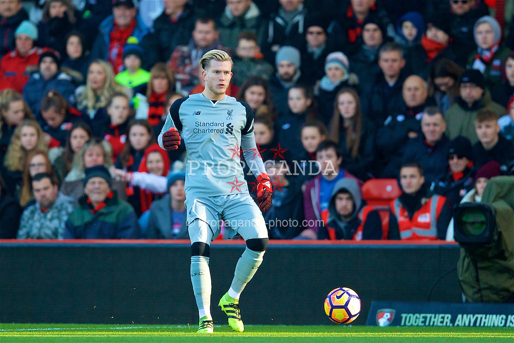BOURNEMOUTH, ENGLAND - Sunday, December 4, 2016: Liverpool's goalkeeper Loris Karius in action against AFC Bournemouth during the FA Premier League match at Dean Court. (Pic by David Rawcliffe/Propaganda)