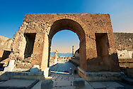 The Arch of Tiberius at the entrance to the Forum of Pompeii. .<br /> <br /> If you prefer to buy from our ALAMY PHOTO LIBRARY  Collection visit : https://www.alamy.com/portfolio/paul-williams-funkystock/pompeii.html<br /> Visit our CLASSICAL WORLD HISTORIC SITES PHOTO COLLECTIONS for more photos to buy as buy as wall art prints https://funkystock.photoshelter.com/gallery-collection/Classical-Era-Historic-Sites-Archaeological-Sites-Pictures-Images/C0000g4bSGiDL9rw