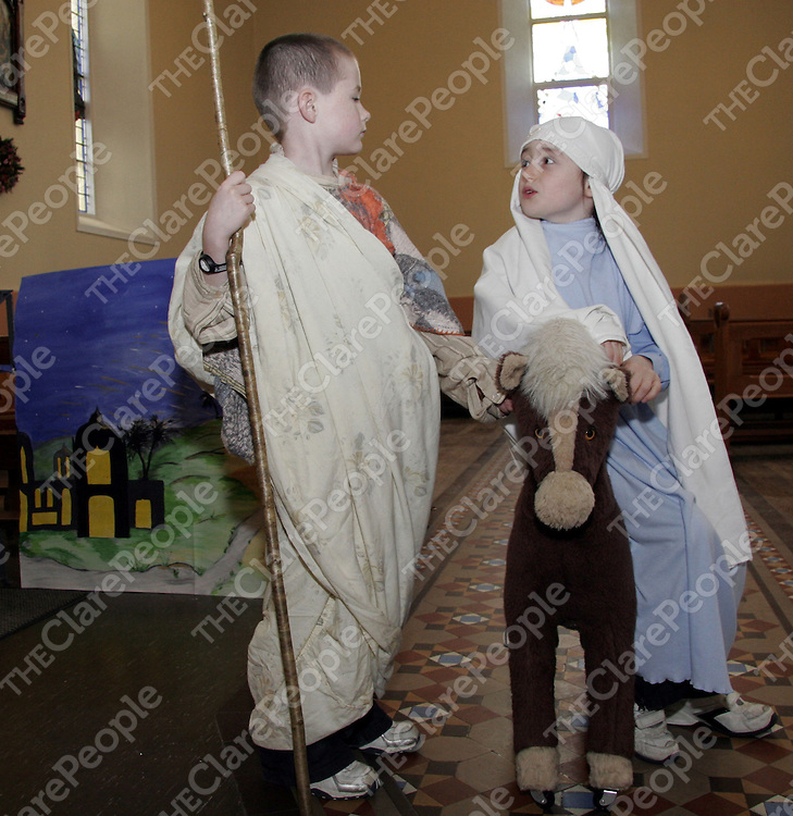 Mary and Joseph better known as Rebecca Doohan and Dillon Clancy practice their lines with each other as they get ready for their Nativity play on Christmas Eve.<br /> <br /> Photograph by Yvonne Vaughan.