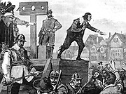John Lilburne (1614?–August 29, 1657), an agitator in England before, during and after the English Civil Wars of 1642–1650. He was a Puritan, though towards the end of his life he became a Quaker.   The authorities then resorted to flogging him with a three-thonged whip on his bare back, as he was dragged by his hands tied to the rear of an ox cart from Fleet Prison to the pillory at Westminster.