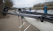"""Mortlake/Chiswick, GREATER LONDON. United Kingdom Oxford University Women's Boat  Club, OUWBC vs Molesey BC,  Pre Boat Race Fixture, 2017 Boat Race, The Championship Course, Putney to Mortlake on the River Thames. Some of the add ons to the racing shells to combat rough water and prevent swamping """"Electric Pumps""""<br /> <br /> Sunday  19/03/2017<br /> <br /> [Mandatory Credit; Peter SPURRIER/Intersport Images]"""