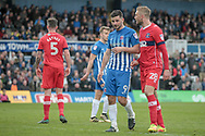 Pádraig Amond (Hartlepool United) and Gary Liddle (Carlisle United) wait for a corner to be delivered during the EFL Sky Bet League 2 match between Hartlepool United and Carlisle United at Victoria Park, Hartlepool, England on 14 April 2017. Photo by Mark P Doherty.