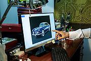 Milan, Corrado Lopresto in his office. Lancia Florida Berlina .