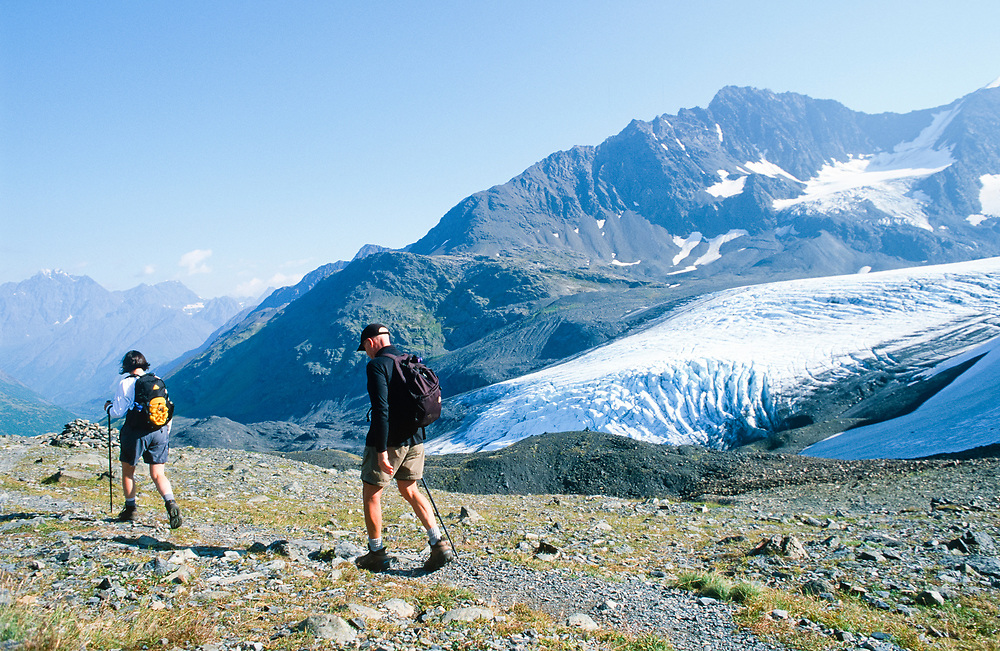 Alaska. Chugach Mts, Crow Pass. A cairn marks the trail's highest points for hikers. Raven Glacier.