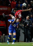 Marcus Rashford of Manchester United in a action with Ross Barkley of Everton during the English Premier League match at Old Trafford Stadium, Manchester. Picture date: April 4th 2017. Pic credit should read: Simon Bellis/Sportimage