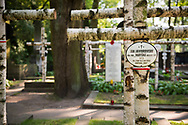 Birch crosses at the Powazki Military Cemetery in Warsaw mark the graves of Polish underground Home Army soldiers, who fought the German occupation of Poland during World War II.