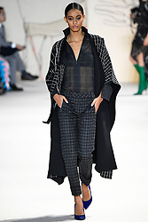 Model walks on the runway during the Akris Fashion Show during Paris Fashion Week Womenswear Fall Winter 2018-2019 held in Paris, France on March 4, 2018. (Photo by Jonas Gustavsson/Sipa USA)