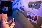 Sofia Dominguez plays an augmented reality game at the AARP Block Party at the Albuquerque International Balloon Fiesta in Albuquerque New Mexico USA on Oct. 7th, 2018.