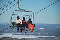 Skiing and riding at Gunstock Mountain.   ©2021 Karen Bobotas Photographer