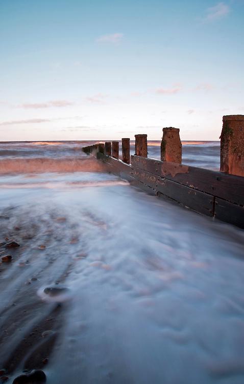 Slow shutter speed shot of Hornsea beach in East Yorkshire.
