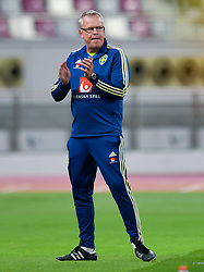 Sweden's head coach Janne Andersson reacts during the international friendly soccer match between Iceland and Sweden at Khalifa International Stadium in Doha, capital of Qatar, Jan. 11, 2019. The match ended in a 2-2 draw  (Credit Image: © Nikku/Xinhua via ZUMA Wire)