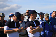 Alex Fitzpatrick (GB&I) and Conor Purcell (GB&I) on the 18th during Day 2 Foursomes of the Walker Cup, Royal Liverpool Golf CLub, Hoylake, Cheshire, England. 08/09/2019.<br /> Picture Thos Caffrey / Golffile.ie<br /> <br /> All photo usage must carry mandatory copyright credit (© Golffile   Thos Caffrey)