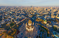 Aerial view of Cathedral of Christ the Saviour in Moscow, Russia