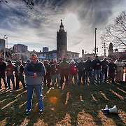 To conclude a protest against Muammar Gaddafi in Libya in March 2011 the local Libyan and Arab American community conducts Muslim prayer at 4 pm on the Plaza in Kansas City, Missouri.