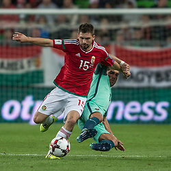 September 3, 2017 - Budapest, Hungary - Máté Pátkai (L) of Hungary in action with Joao Moutinho (R) of Portugal during the World Cup qualification match between Hungary and Portugal at Groupama Arena on Nov 03, 2017 in Budapest, Hungary. (Credit Image: © Robert Szaniszlo/NurPhoto via ZUMA Press)