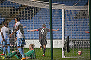 Morecambe  defender Dean Winnard (6) scores a goal and celebrates to make the score 0-1 during the The FA Cup match between Coventry City and Morecambe at the Ricoh Arena, Coventry, England on 15 November 2016. Photo by Simon Davies.