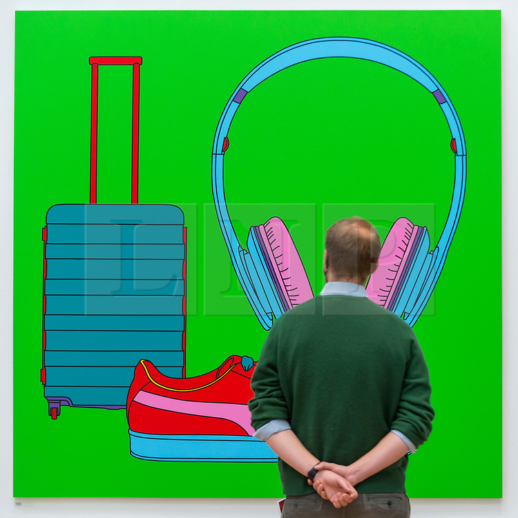 """© Licensed to London News Pictures. 28/09/2020. LONDON, UK. A staff member poses with """"Untitled (With Suitcase)"""" by Sir Michael-Craig-Martin (RA).  Preview of the Summer Exhibition at the Royal Academy of Arts in Piccadilly which, due to the Covid-19 lockdown, is taking place for the first time in the autumn.  Over 1000 works in a range of media by Royal Academicians, established and emerging artists, feature in the exhibition which runs from 6 October 2020 – 3 January 2021.  Photo credit: Stephen Chung/LNP"""