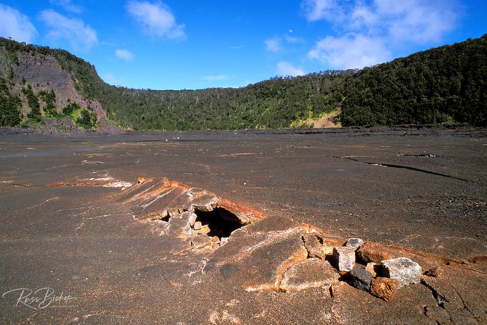 Fractured lava tube in the Kilauea Iki crater, Hawaii Volcanoes National Park, The Big Island, Hawaii
