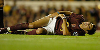 Photo: Leigh Quinnell.<br /> Arsenal v Fulham. The Barclays Premiership.<br /> 24/08/2005. Arsenals Jose Antoni Reyes goes down with a leg injury.