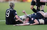 Fotball<br /> UEFA European Women's Under-19 Championships<br /> Group B<br /> Mjøndalen 18.07.2014<br /> Irland v England 2:1<br /> Foto: Morten Olsen, Digitalsport<br /> <br /> Ireland celebrating 2:1 scored by Keeva Keenan (7) on the ground<br /> Goalscorer 1:1 Savannah McCarthy (3) on top<br /> Megan Connolly (9)