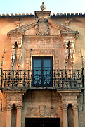 SPAIN, ANDALUSIA Ronda; facade of Palace of Marquis de Salvatierra with figures of two Inca Indian couples