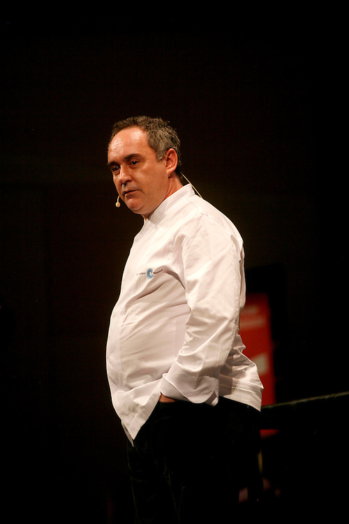 The best Catalan cooks of the guide Michelin. Chef Ferran Adria from the restaurant El Bulli in a gastronomical exhibition.