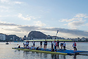 "Rio de Janeiro. BRAZIL.   GBR W8+ and the GBR M8+ boating at the 2016 Olympic Rowing Regatta. Lagoa Stadium,<br /> Copacabana,  ""Olympic Summer Games""<br /> Rodrigo de Freitas Lagoon, Lagoa.   Thursday  11/08/2016 <br /> <br /> [Mandatory Credit; Peter SPURRIER/Intersport Images]"