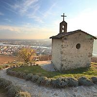 La Chapelle vineyard on Hermitage overlooks the Cotes-du-Rhone valley.