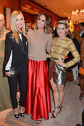 Left to right, LAURA WHITMORE, LOUISE ROE and ASHLEY ROBERTS at a party to celebrate the publication of Front Roe by Louise Roe held at Ralph Lauren, 1 New Bond Street, London on 1st April 2015.