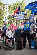 Anti-Brexitcampaigners outside the Cabinet Office on Whitehall on the 29th August 2019 in London in the United Kingdom. A group gather outside the Cabinet Office, protesting against British Prime Minster Boris Johnson's announcement of a suspension of Parliament.