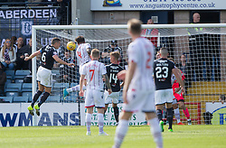 Ross County's Christopher Routis (4) scoring their second goal. Dundee 1 v 2 Ross County, Scottish Premiership game played 5/8/2017 at Dundee's home ground Dens Park.