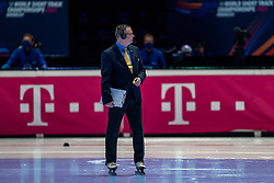 Referee in action on 500 meter during ISU World Short Track speed skating Championships on March 05, 2021 in Dordrecht