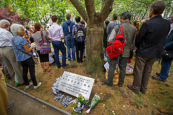 © London News Pictures. 06/08/2015. London, UK. People attending a Campaign for Nuclear Disarmament rally to mark the 70th Anniversary of the atomic bombings of Hiroshima and Nagasaki in Tavistock Square, London on Thursday, August 6, 2015. Photo credit: Tolga Akmen /LNP