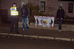 Pictured: Some members of the Orange Order were not there to support Mr Corbyn<br /> <br /> Jeremy Corbyn and Richard Leonard joined the Scottish Labour faithful tonight at a rally in at the Shottstown Miners Welfare Halls in Penicuik.<br /> <br /> They were joined by Labour MPs Ian Lavery and Danielle Rowley