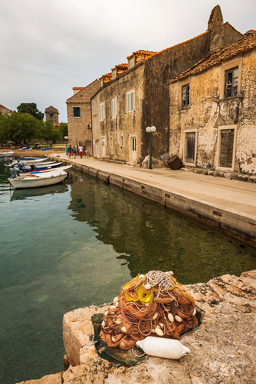 Fishing boats and nets in Sudurad, Sipan Island, Dalmatian Coast, Croatia
