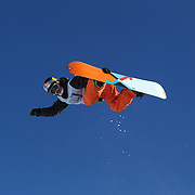 Manuel Pietropoli, Italy, in action during the Men's Half Pipe Finals at the Burton New Zealand Open 2011 held at Cardrona Alpine Resort, Wanaka, New Zealand, 13th August 2011. Photo Tim Clayton