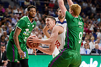 Real Madrid's Jaycee Carroll and Unicaja Malaga's Jeff Brooks and Alberto Diaz during semi finals of playoff Liga Endesa match between Real Madrid and Unicaja Malaga at Wizink Center in Madrid, June 02, 2017. Spain.<br /> (ALTERPHOTOS/BorjaB.Hojas)